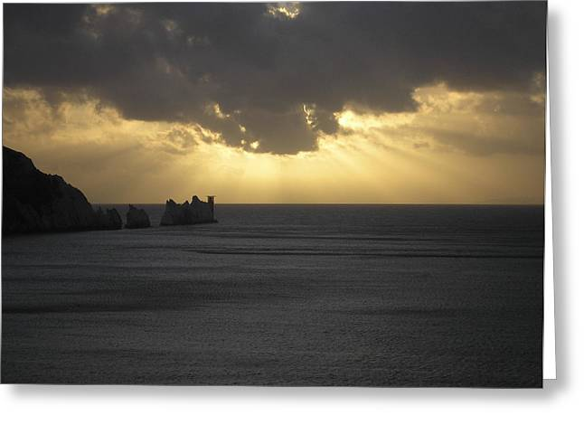 Nightfall At The Needles Point In The Isle Of Wight Greeting Card