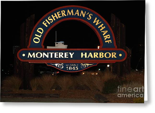 Nightfall At The Old Fishermans Wharf At The Monterey Harbor California 5d25175 Greeting Card