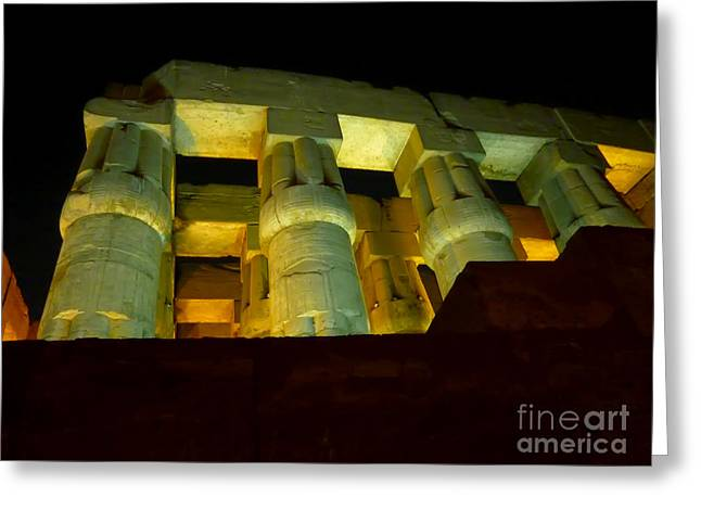 Nightime At Luxor Temple  Greeting Card by Eleni Mac Synodinos