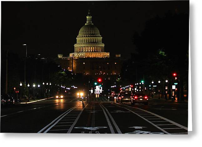 Nightime On Capitol Hill Greeting Card by DustyFootPhotography