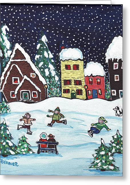 Greeting Card featuring the painting Nightime Skaters by Joyce Gebauer