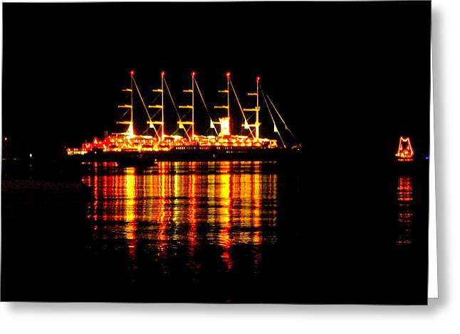 Nightlife On The Water Greeting Card by Zafer Gurel
