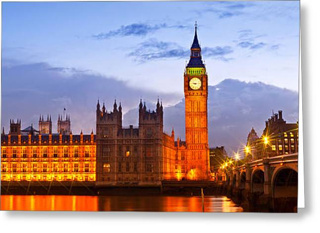 Nightly View London Houses Of Parliament Greeting Card by Melanie Viola