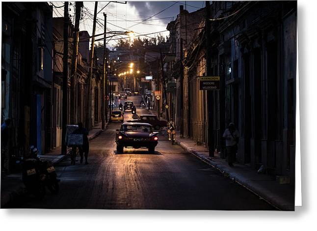 Nights Streets Of Matanzas Greeting Card