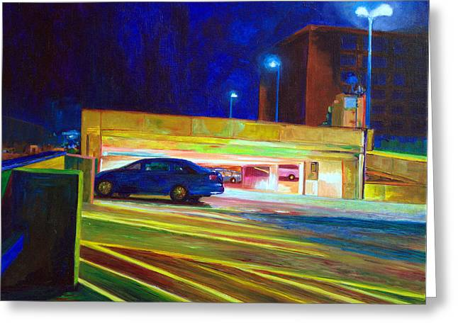 Nightscape 6 Up On The Roof Greeting Card by Francine VandenBerg
