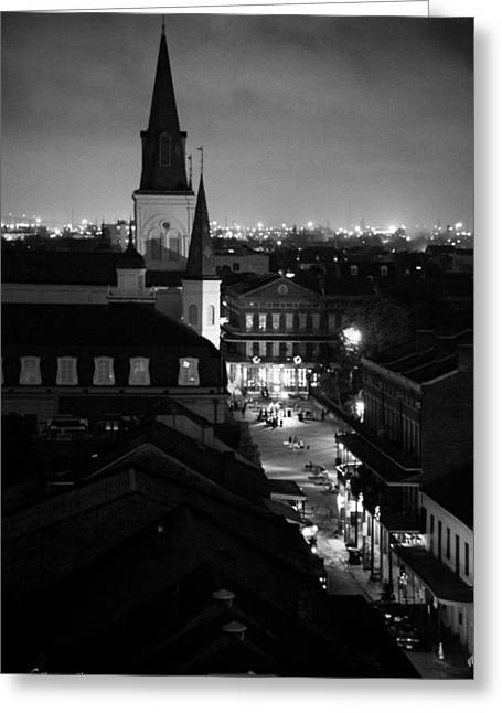 Greeting Card featuring the photograph Nightscape B/w by Shelly Stallings