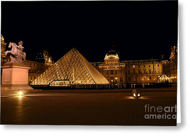 Nighttime At Musee Du Louvre Greeting Card