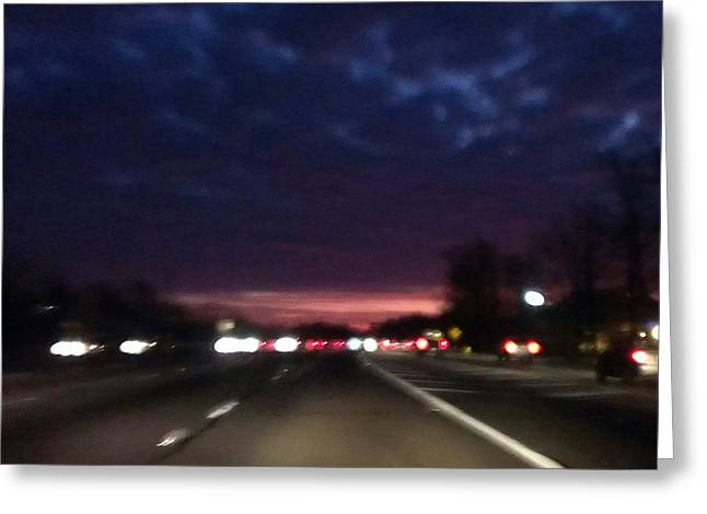 Nighttime Drive Greeting Card