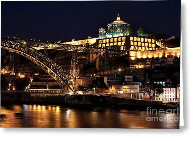 Nighttime In Porto Greeting Card by John Rizzuto