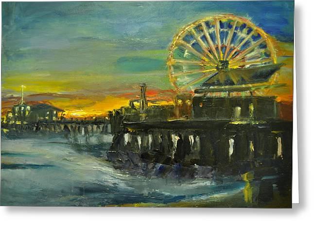 Nighttime Pier Greeting Card by Lindsay Frost