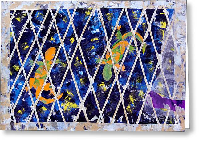 Nighttime View From The Kitchen Window Greeting Card by Paula Drysdale Frazell