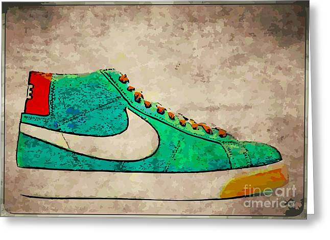 Nike Blazers Greeting Card by Alfie Borg