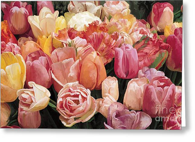Greeting Card featuring the painting Nikki's Tulips by Tim Gilliland