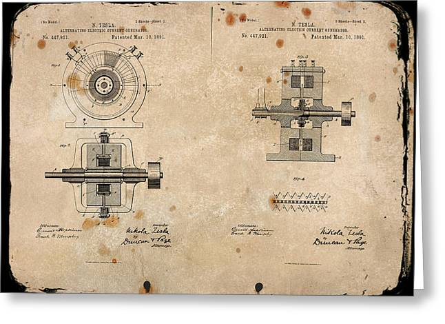 Nikola Tesla's Alternating Current Generator Patent 1891 Greeting Card by Paulette B Wright