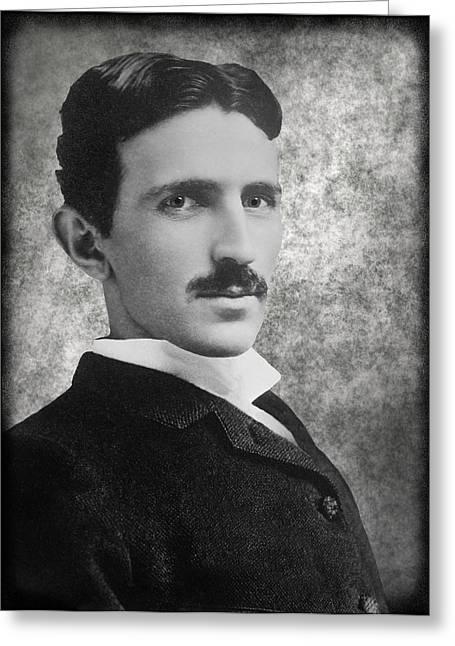 Nikola Tesla Greeting Card by Daniel Hagerman