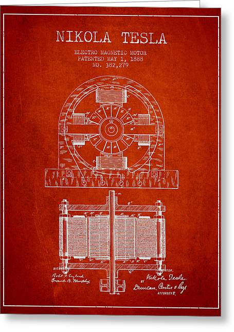 Nikola Tesla Electro Magnetic Motor Patent Drawing From 1888 - R Greeting Card by Aged Pixel