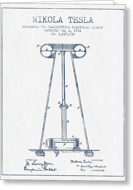 Nikola Tesla Energy Apparatus Patent Drawing From 1914  - Blue I Greeting Card