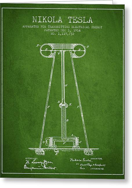 Nikola Tesla Energy Apparatus Patent Drawing From 1914 - Green Greeting Card