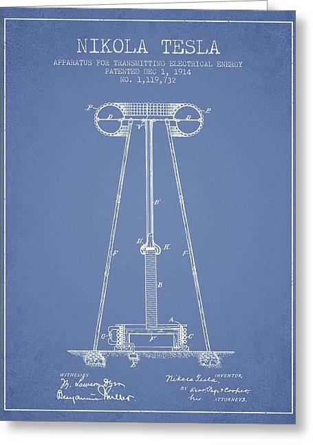 Nikola Tesla Energy Apparatus Patent Drawing From 1914 - Light B Greeting Card
