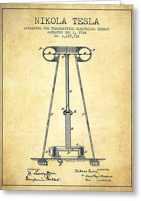 Nikola Tesla Energy Apparatus Patent Drawing From 1914 - Vintage Greeting Card by Aged Pixel