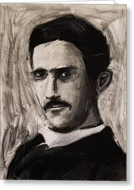 Nikola Tesla In Coat Charcoal Drawing Greeting Card by Don Lee