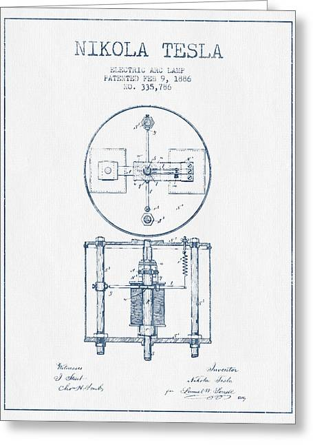Nikola Tesla Patent Drawing From 1886 - Blue Ink Greeting Card