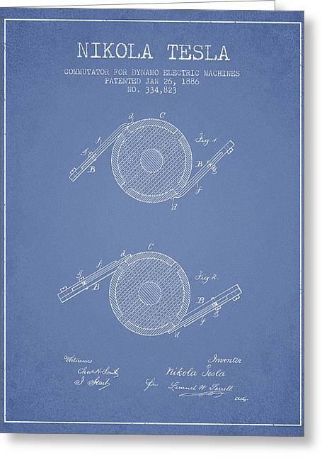 Nikola Tesla Patent Drawing From 1886 - Light Blue Greeting Card