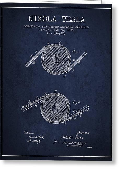 Nikola Tesla Patent Drawing From 1886 - Navy Blue Greeting Card
