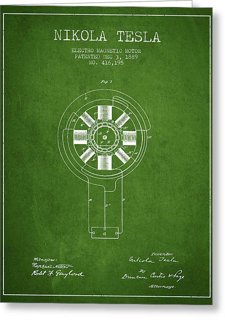 Nikola Tesla Patent Drawing From 1889 - Green Greeting Card by Aged Pixel