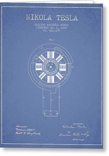 Nikola Tesla Patent Drawing From 1889 - Light Blue Greeting Card by Aged Pixel