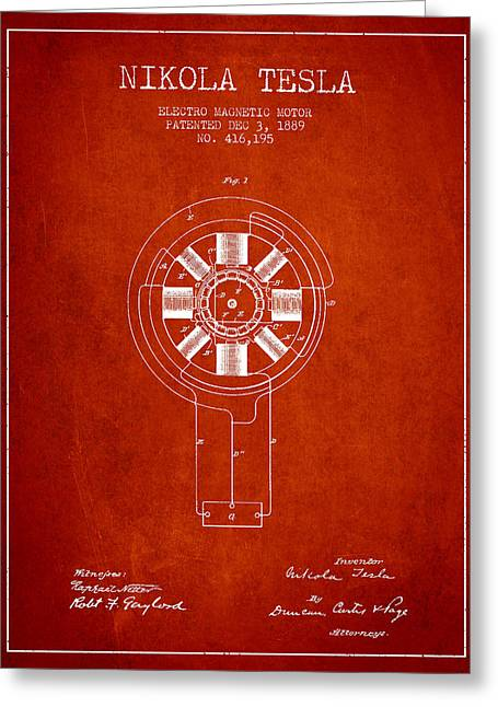 Nikola Tesla Patent Drawing From 1889 - Red Greeting Card by Aged Pixel
