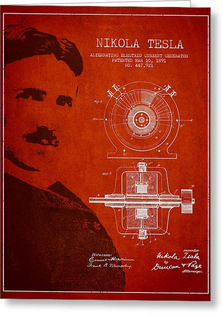 Nikola Tesla Patent From 1891 Greeting Card by Aged Pixel