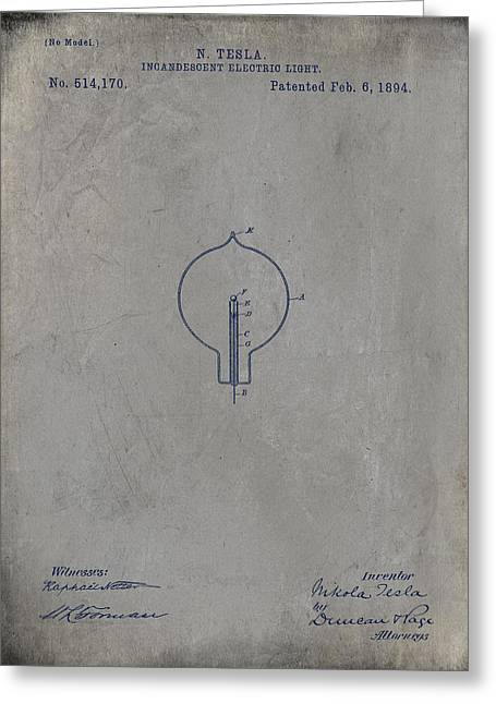 Nikola Tesla's Incandescent Electric Light Patent 1894 - Grunge Greeting Card by Paulette B Wright