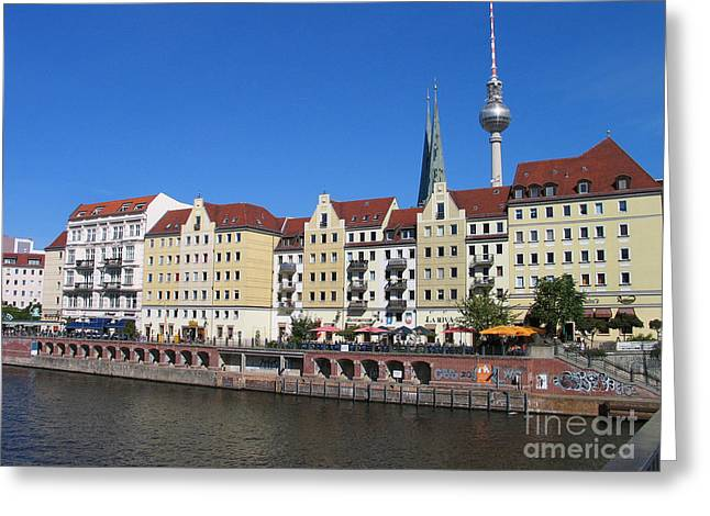 Greeting Card featuring the photograph Nikolaiviertel And Alexanderturm by Art Photography