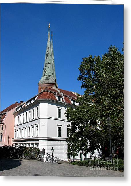 Greeting Card featuring the photograph Nikolaiviertel And Nikolai Church by Art Photography