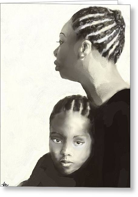 Greeting Card featuring the drawing Nina And Lisa Simone by Vannetta Ferguson