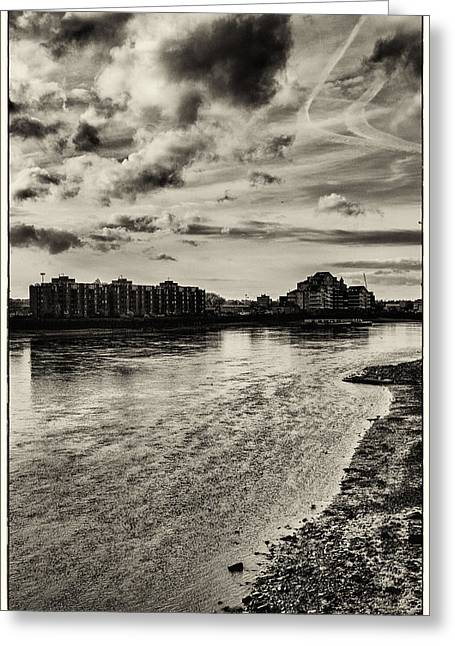 Nine Elms Across The Thames Tide Greeting Card