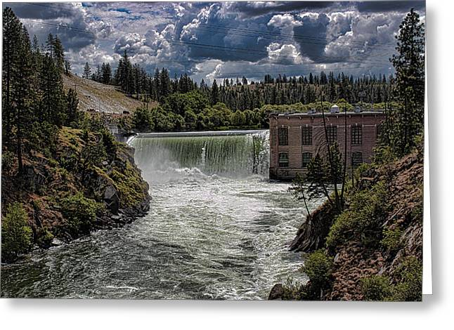 Nine Mile Falls Dam. Greeting Card by Rusty Jeffries