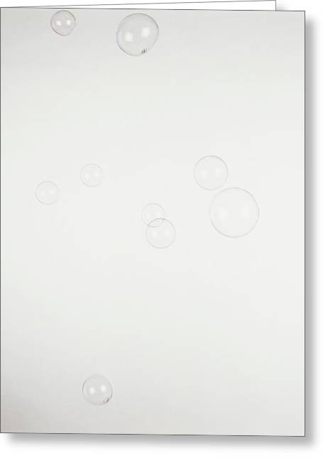 Nine Soap Bubbles Floating In The Air Greeting Card