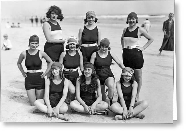 Nine Women In Bathing Suits Greeting Card by Underwood Archives