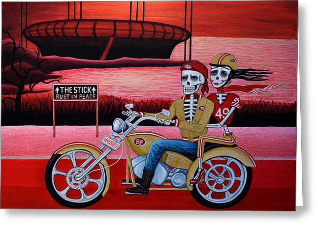Greeting Card featuring the painting Ninerrider by Evangelina Portillo