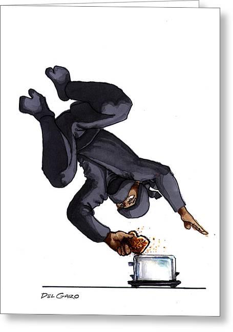 Ninja Making Toast Greeting Card by Del Gaizo