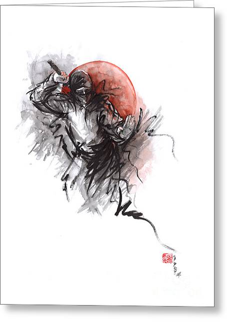 Ninja - Martial Arts Styles Painting Greeting Card by Mariusz Szmerdt