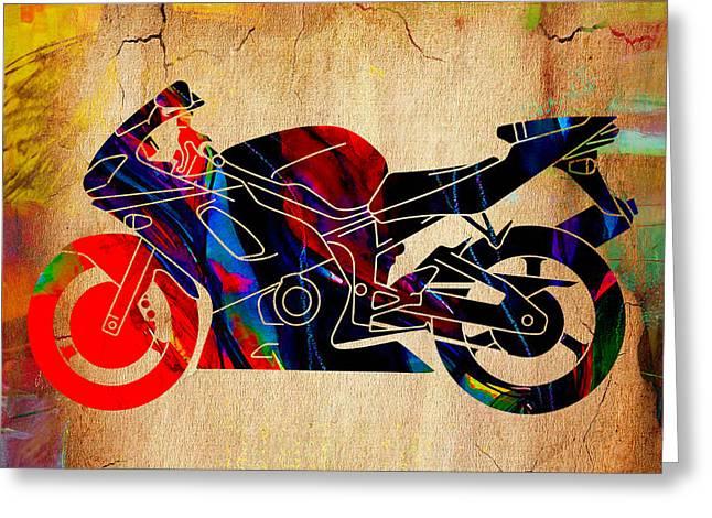 Ninja Motorcycle Art Greeting Card