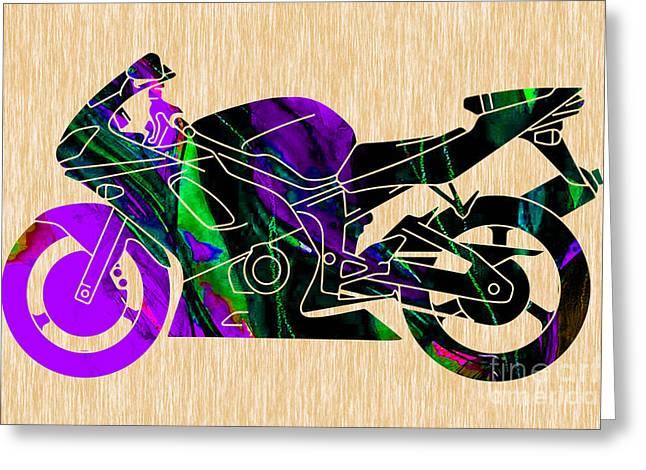 Ninja Street Bike Art Greeting Card by Marvin Blaine