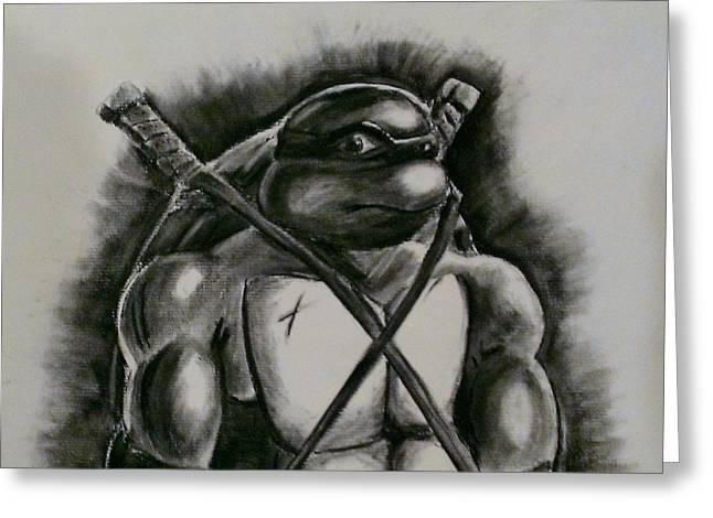 Ninja Turtle Leonardo Greeting Card by David Magill