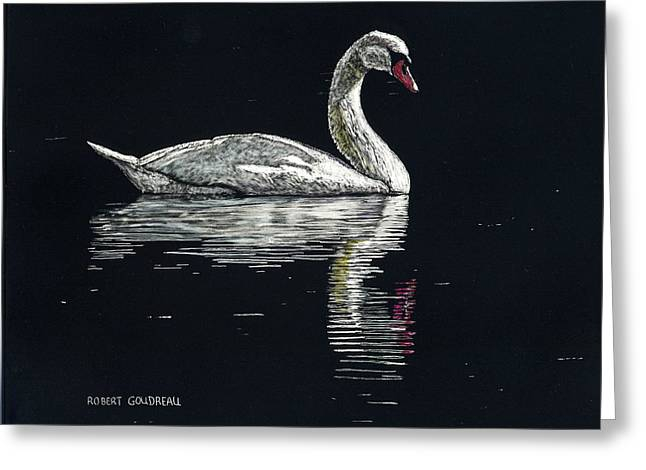 Nino's Swan Greeting Card by Robert Goudreau