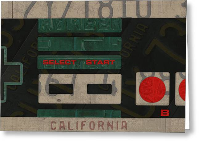 Nintendo Controller Vintage Video Game License Plate Art Greeting Card by Design Turnpike