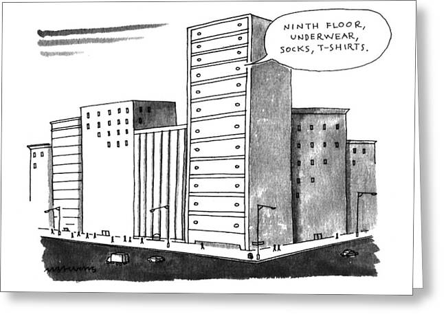 'ninth Floor Greeting Card by Mick Stevens