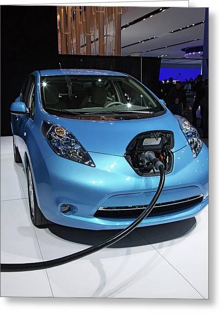 Nissan Leaf Electric Car Greeting Card by Jim West